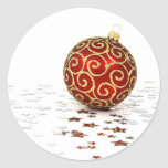 Red Ornament and Stars Round Stickers