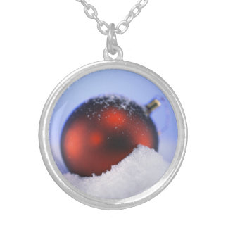 Red Ornament Christmas Joy Round Pendant Necklace