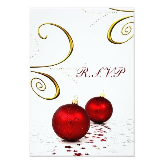 red ornament winter wedding rsvp standard 3.5 x 5 card