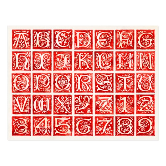 Red Ornamental Alphabet and Numbers Postcard