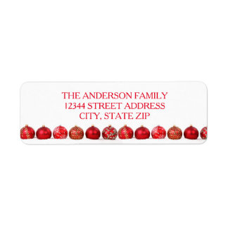 Red Ornaments - Address Label
