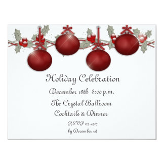 Red Ornaments Holly Invitation