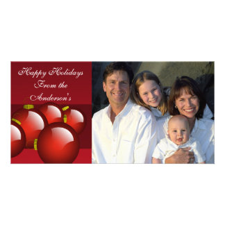 Red Ornaments on Deep Burgundy Wine Photo Greeting Card
