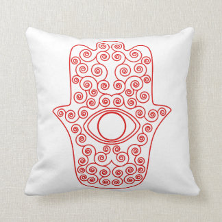 Red Outline Hamsa-Hand of Miriam-Hand of Fatima.pn Cushion