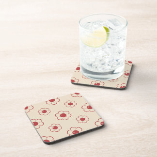 Red Outlined Cartoon Flower Pattern Coaster