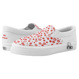 Red Outlined Flowers Slip-On Shoes