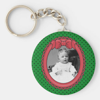 Red Oval Frame with Bow & Green & Polka Dots Backg Basic Round Button Key Ring