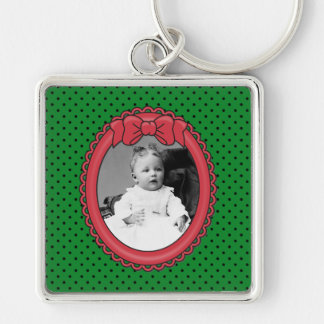 Red Oval Frame with Bow & Green & Polka Dots Backg Silver-Colored Square Key Ring
