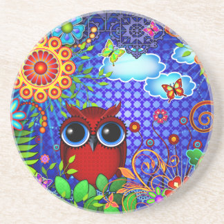 Red Owl and Flowers Art Coaster