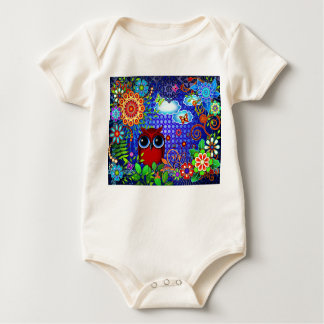 Red Owl and Flowers Bird Art Infant Creeper