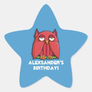 Red Owl aqua Birthday Star Sticker