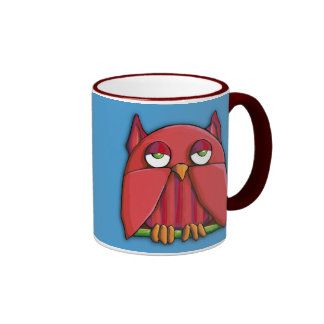 Red Owl aqua Mug