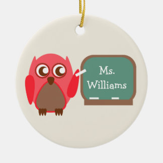 Red Owl At Chalkboard Teacher Ornament