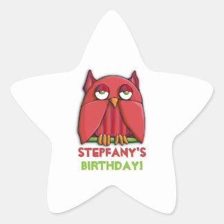 Red Owl Birthday Star Sticker