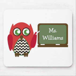 Red Owl Black Chevron Teacher At Chalkboard Mouse Mat