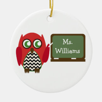 Red Owl Black Chevron Teacher At Chalkboard Round Ceramic Decoration