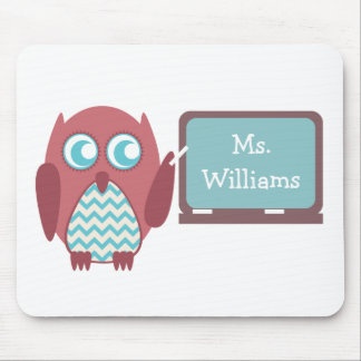 Red Owl Blue Chevron Teacher At Chalkboard Mouse Mat