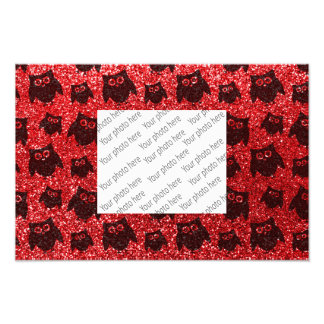 Red owl glitter pattern photographic print