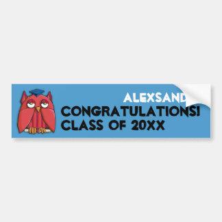 Red Owl Grad aqua Birthday Bumper Sticker