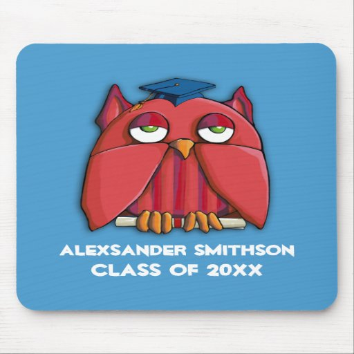 Red Owl Grad aqua Mousepad