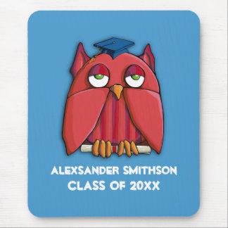Red Owl Grad aqua Mousepad