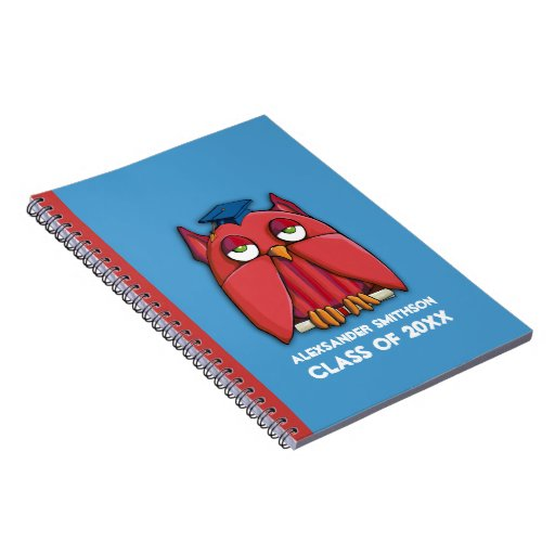 Red Owl Grad aqua Notebook