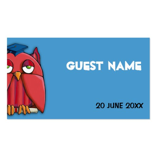 Red Owl Grad aqua Place Card Business Card