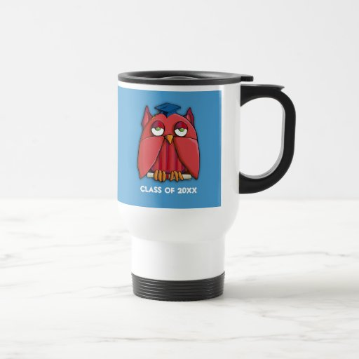 Red Owl Grad aqua Travel Mug