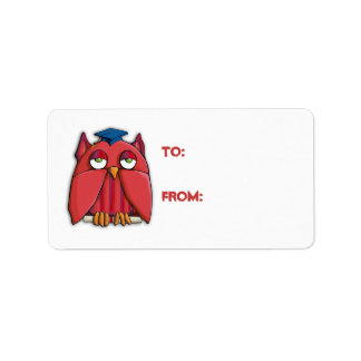 Red Owl Grad Gift Tag Sticker Address Label