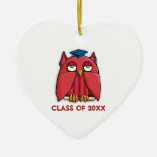 Red Owl Grad Heart Ornament