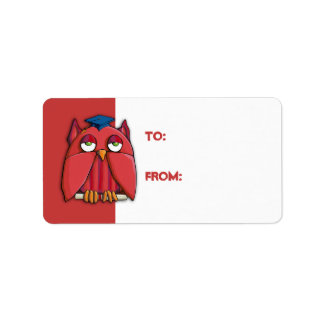 Red Owl Grad red Gift Tag Sticker Address Label