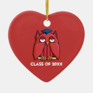 Red Owl Grad red Heart Ornament