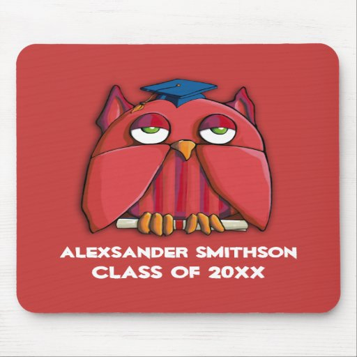 Red Owl Grad red Mousepad