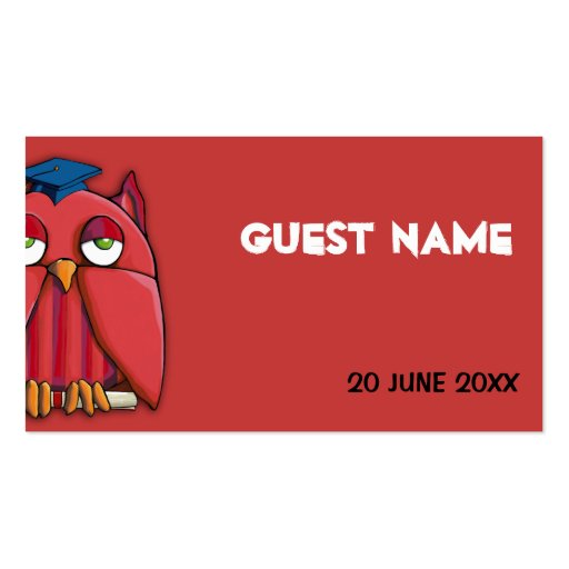 Red Owl Grad red Place Card Business Card Template