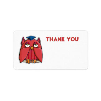 Red Owl Grad Thank You Gift Tag Sticker Address Label