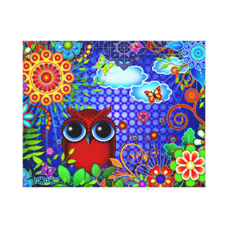 Red Owl on Blue Gallery Wrap Canvas