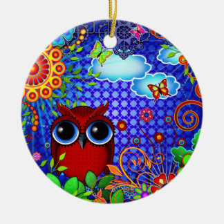 Red Owl on Blue Christmas Ornament