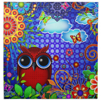 Red Owl on Blue Cloth Napkin