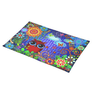 Red Owl on Blue Placemat