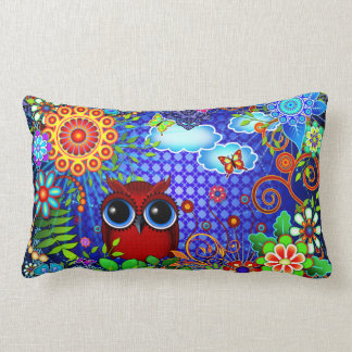 Red Owl on Blue Pillows