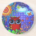 Red Owl on Blue Drink Coasters