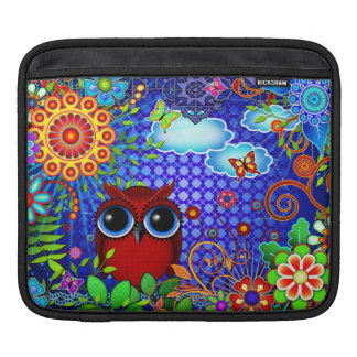 Red Owl on Blue Sleeve For iPads