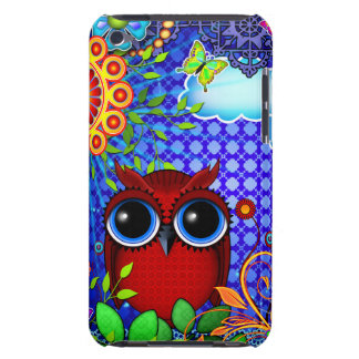 Red Owl on Blue iPod Touch Cases