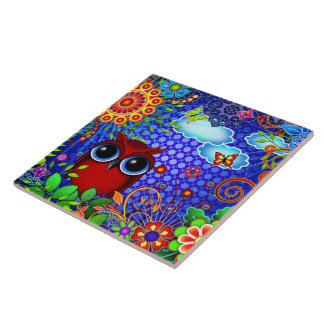 Red Owl on Blue Large Square Tile