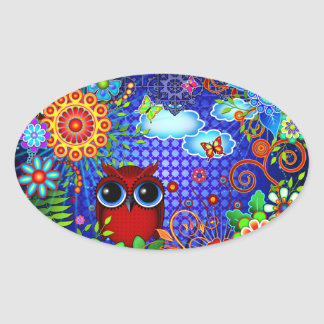 Red Owl on Blue Oval Sticker