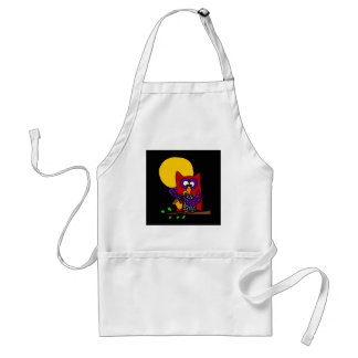Red Owl Playing Saxophone in the Moonlight Standard Apron