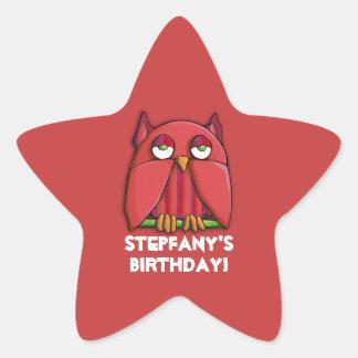 Red Owl red Birthday Star Sticker