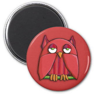 Red Owl red Round Magnet