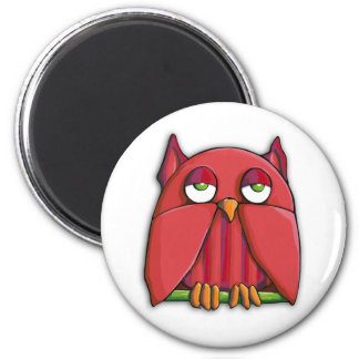 Red Owl Round Magnet