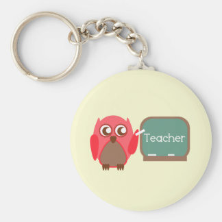 Red Owl Teacher At Chalkboard Basic Round Button Key Ring